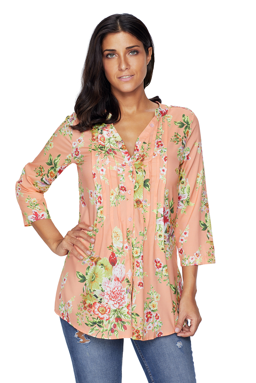Damen Langarm Bluse Hemd Shirt Top Tunika Stretch Flamingos Knopfleiste S M L XL