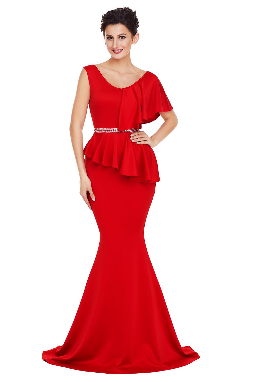 Asymmetric ruffle peplum mermaid party dress evening ceremony women ...