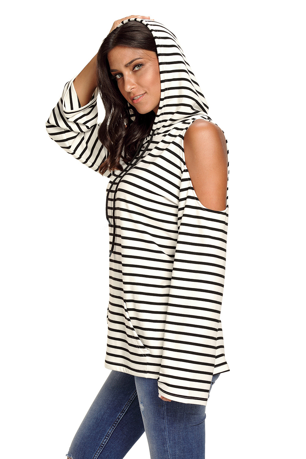 73d07dfb2aa56 Navy white striped cold shoulder long sleeve top womens shirt autumn ...