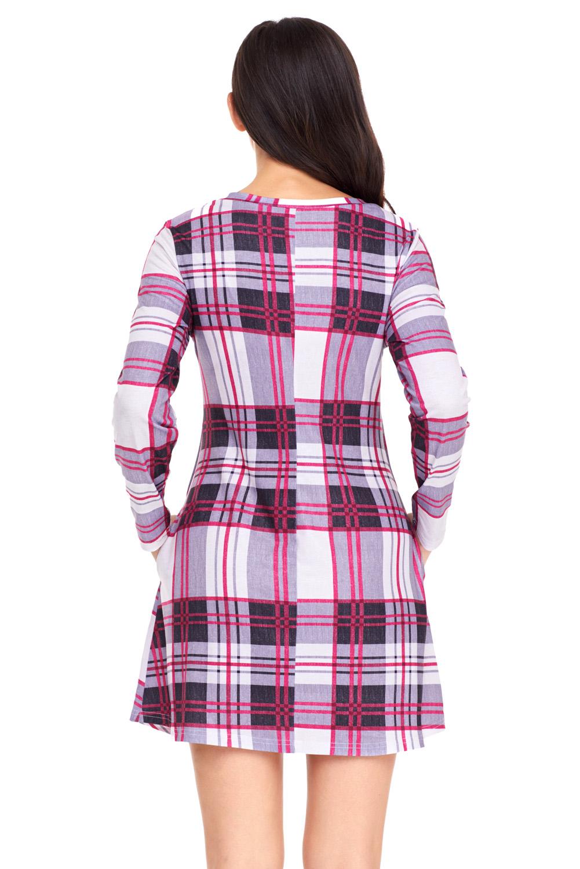Mini-vestido-de-cuadros-tunica-manga-larga-mujer-informal-oficina