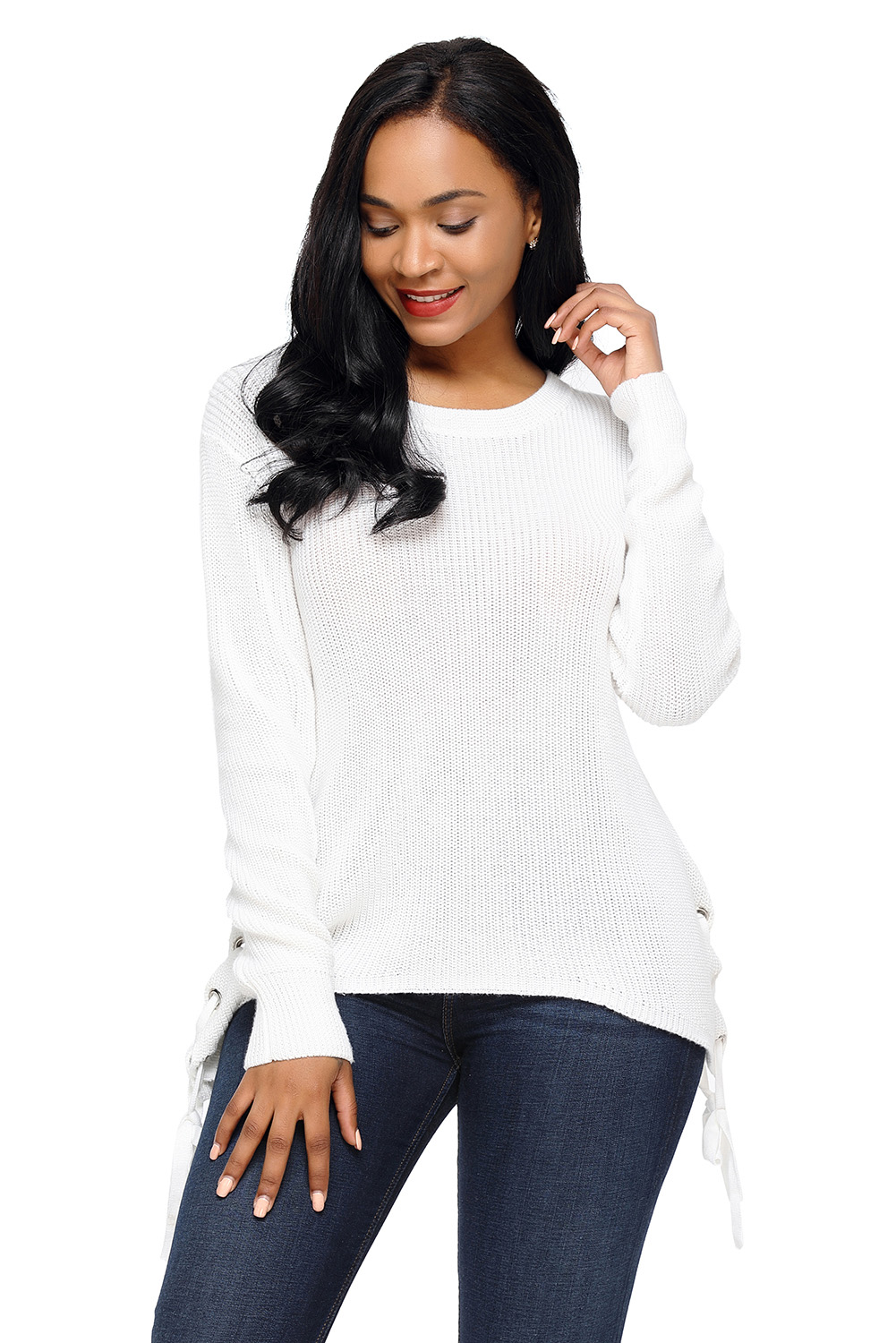 a80042d840da86 White long sleeve lace up sided sweater womens strappy spaghetti ...