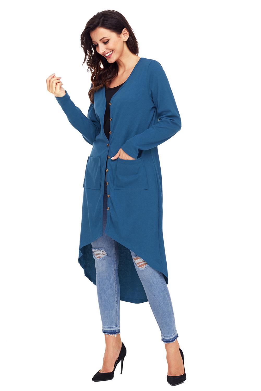 9d088f51085fe3 Grüne gerippte hi low long cardigan mit taschen damen | eBay