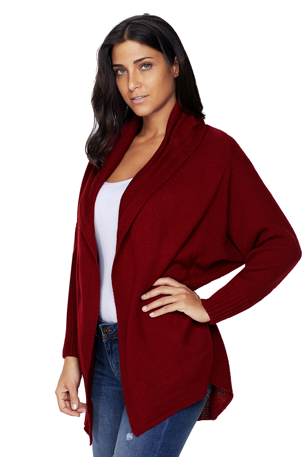 563710f4fc Burgundy chunky knit open front dolman cardigan womens autumn winter ...