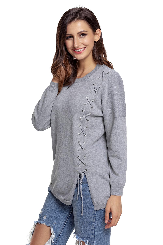 ecbeb7f3ce Black lace up side lightweight sweater womens strappy spaghetti ...