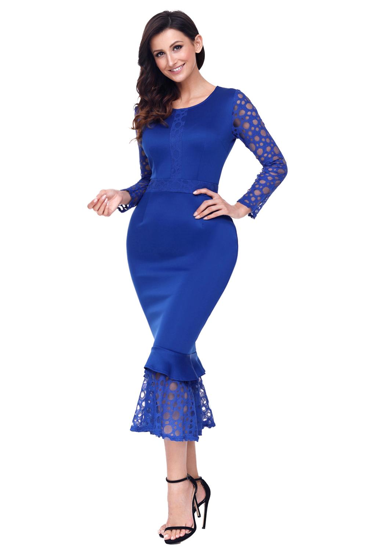 Long sleeve midi bodycon dress up for women