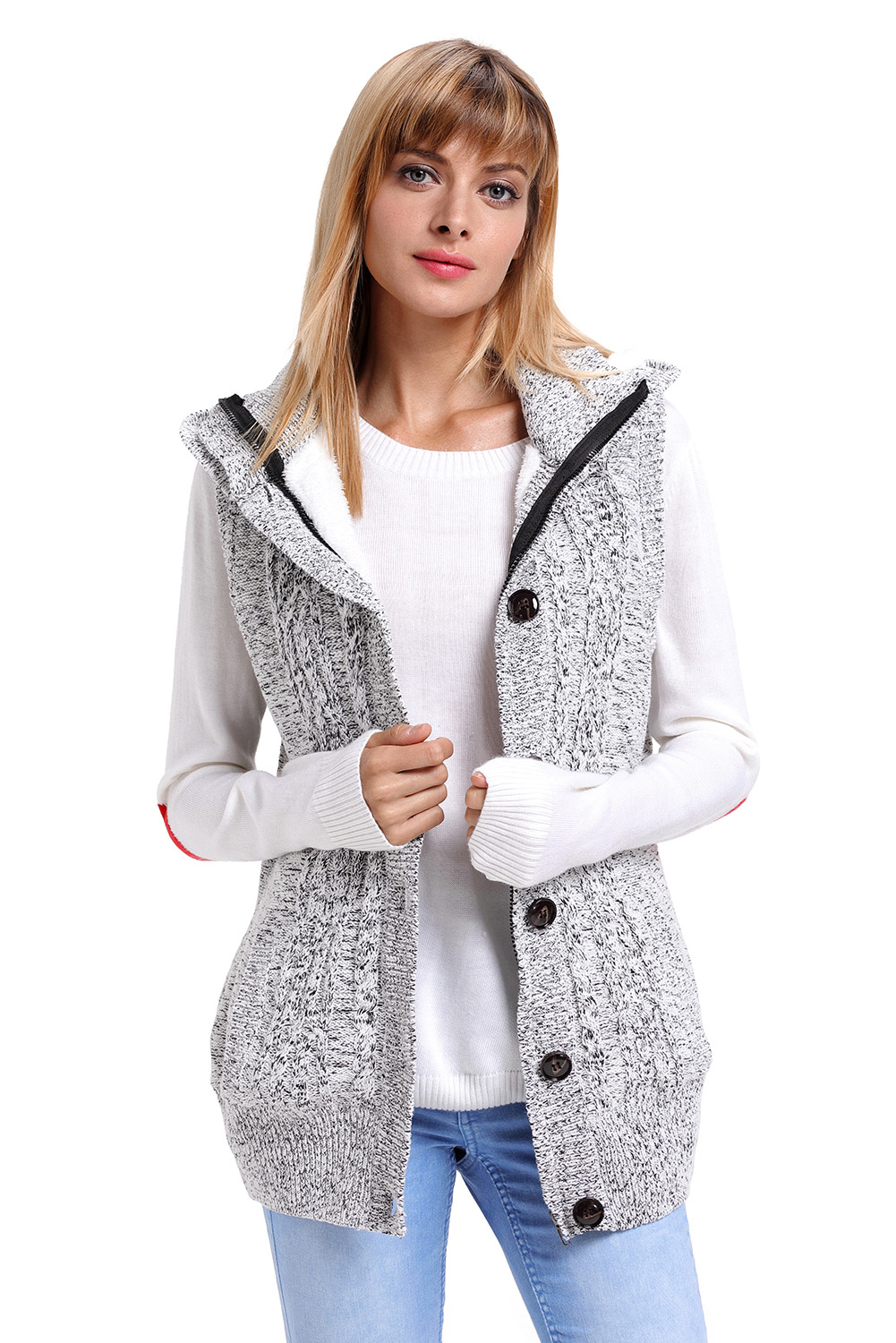 0b0b9d1286a5d Cable knit hooded sweater vest womens autumn winter fall sleeveless ...