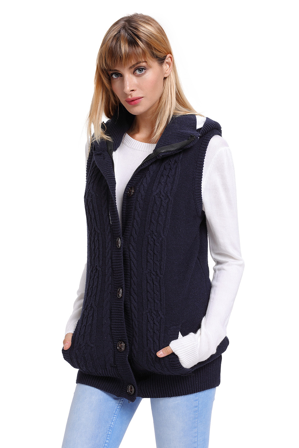 Details about Cable knit hooded sweater vest womens brief autumn winter solid sleeveless hat