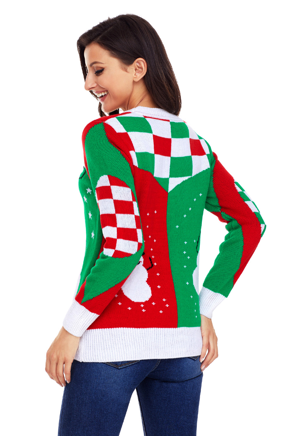 Christmas Sweater Womens.Details About Happy Snowman Green Red Christmas Sweater Womens Autumn Winter Fall Crew Neck