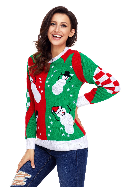 invierno feliz Navidad rojo verde suéter de redondo cuello nieve de otoño otoño Muñeco mujer xSn4fzf