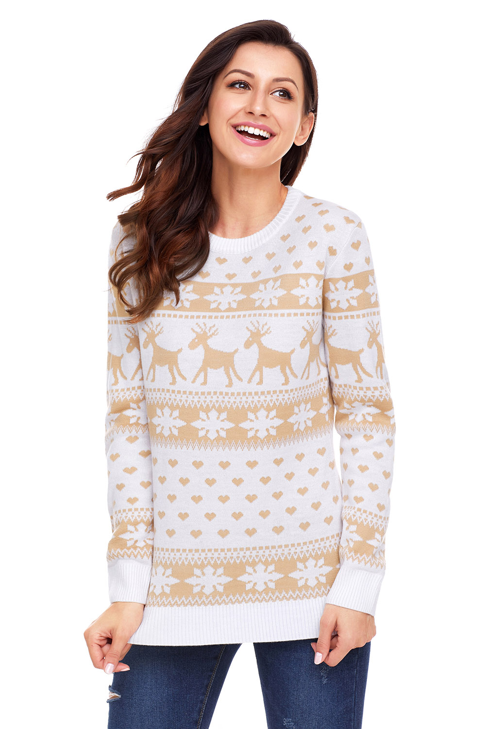Reindeer and snowflake knit christmas sweater womens autumn winter ...