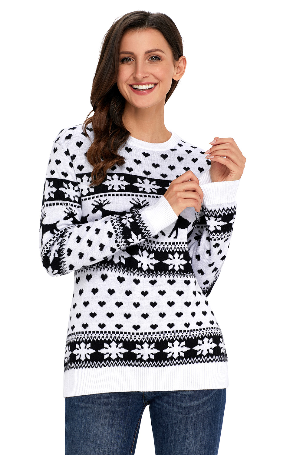 Christmas Sweater Women.Details About Reindeer And Snowflake Knit Christmas Sweater Womens Cute Jumper Winter Animal