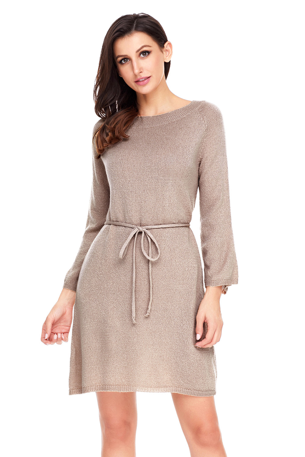 Off The Shoulder Knit Sweater Dress Tunic Autumn Winter Women Crew