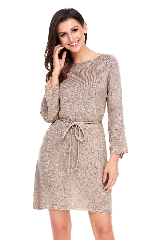 6dc9037b71aa Off the shoulder knit sweater dress tunic autumn winter women crew ...