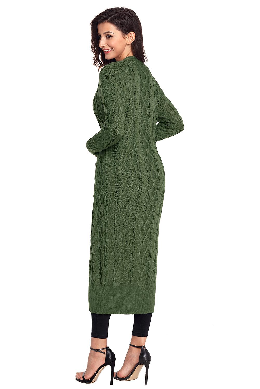 f6ba799dd2b Details about Armee green cable knit long cardigan strickjacke damen