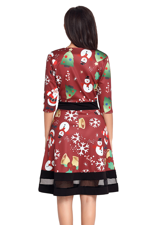 Jolly christmas cartoon print wein a-linie kleid damen   eBay