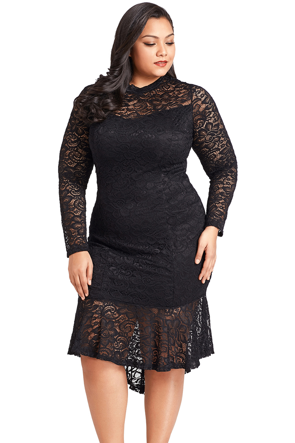 dca8f53301d Plus size floral lace hi-lo mermaid womens dress high low long ...