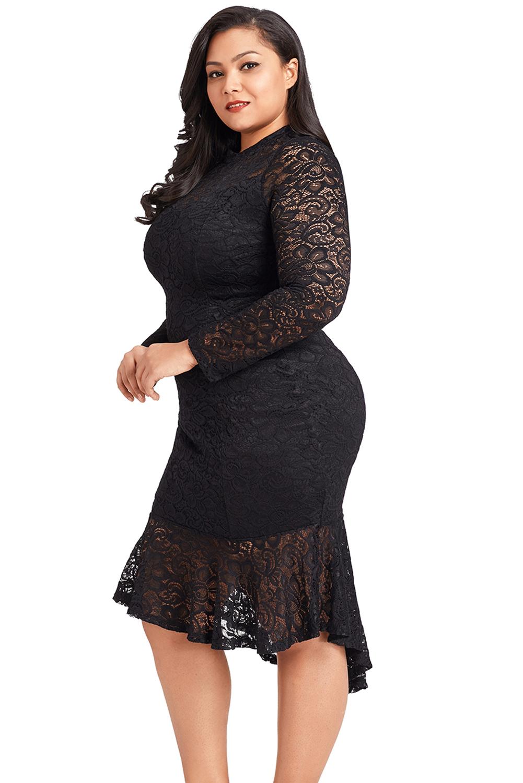 6fe78574d01 Plus size floral lace hi-lo mermaid womens dress high low long ...