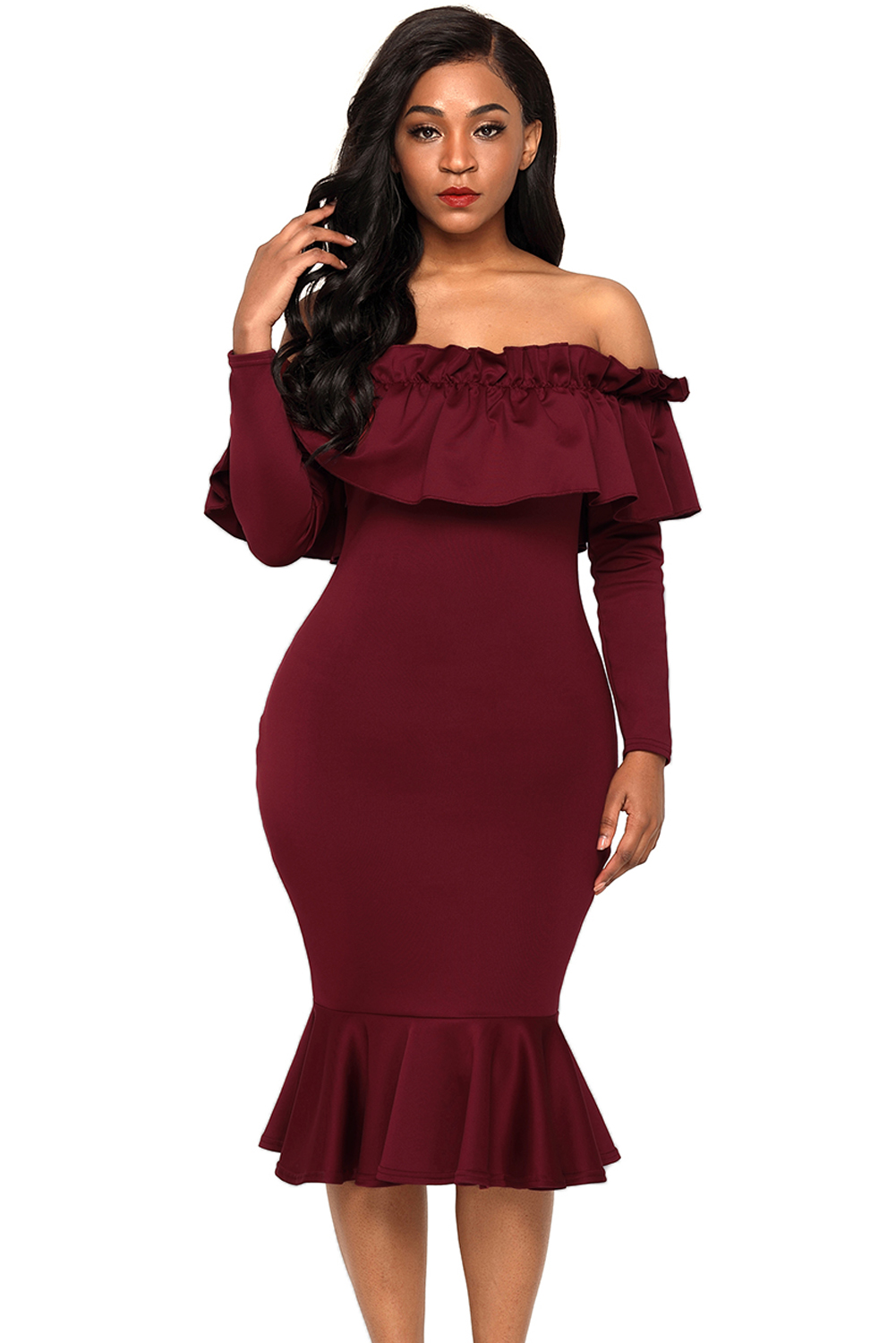 rot long sleeve off shoulder kleid buy 116adcb a116c16c