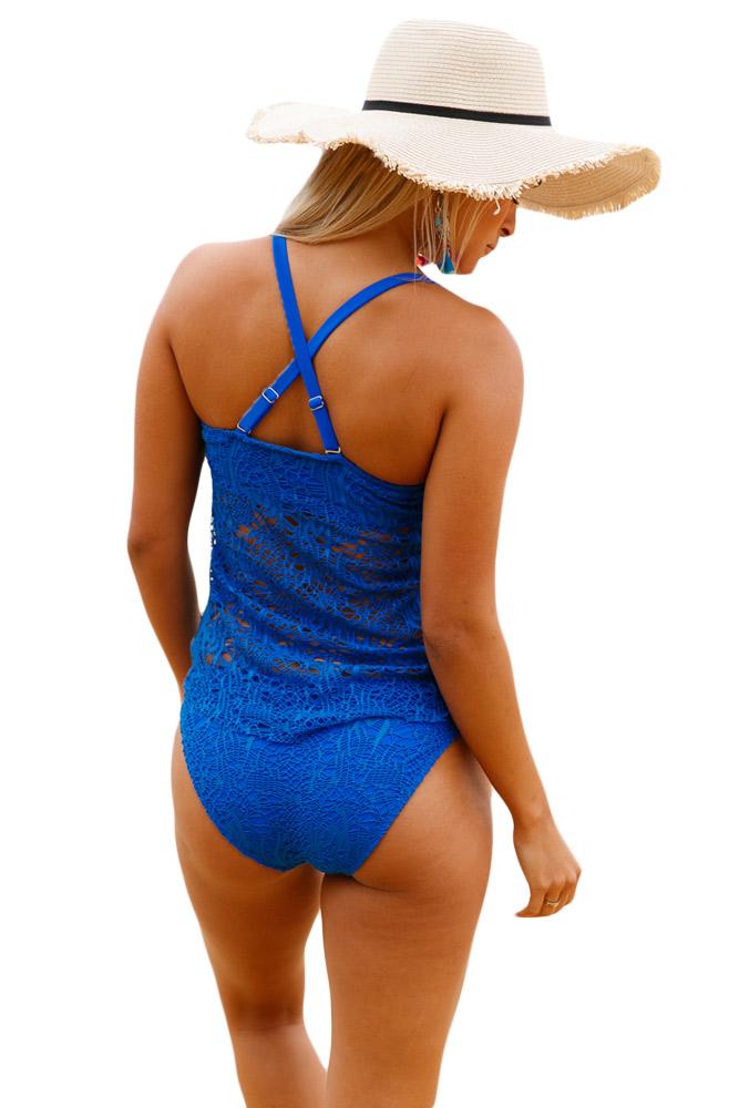 a02ab4abdd Blue grommet lace crochet 2pcs tankini swimsuit women swimwear ...