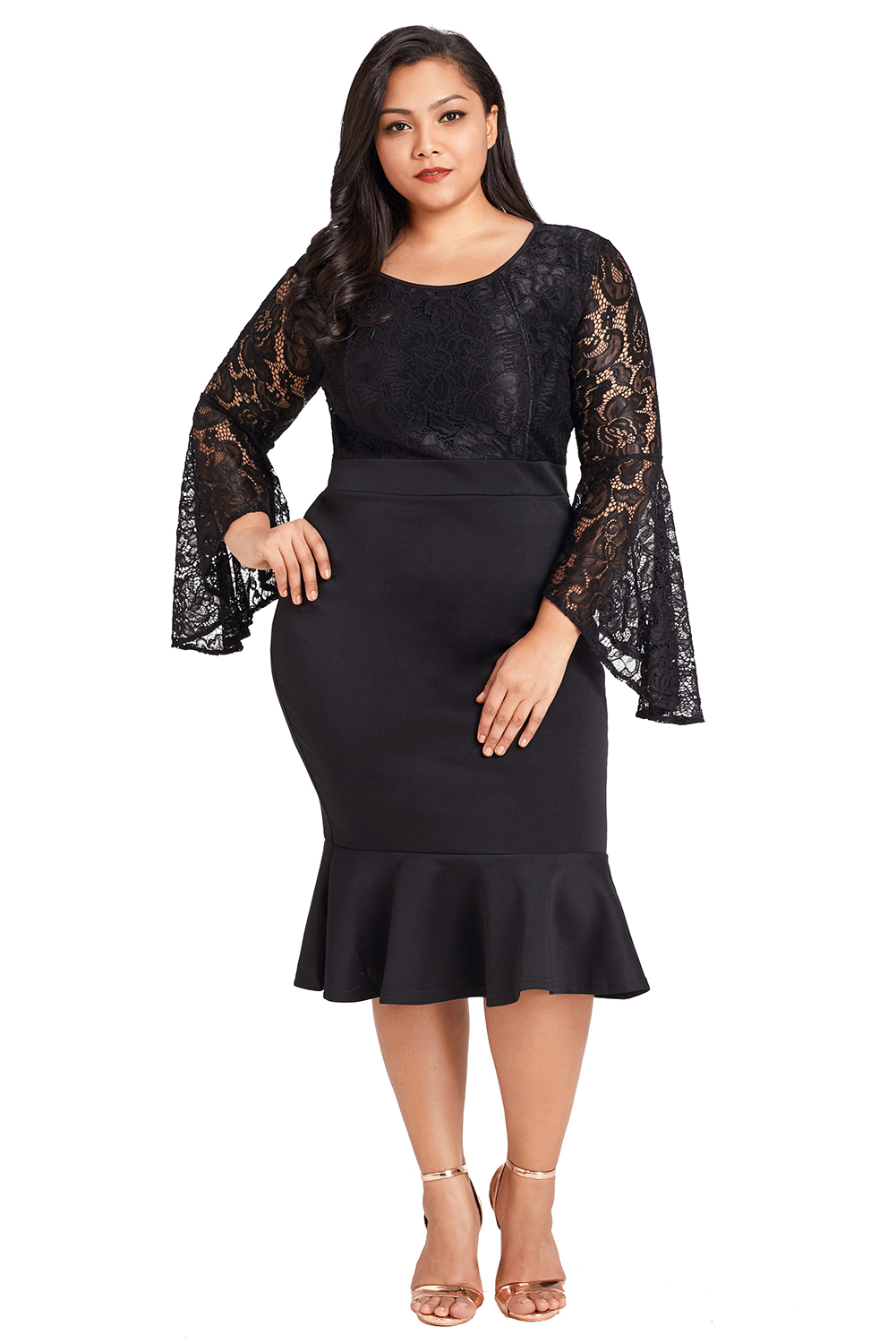 de27f19bab Plus size lace bell sleeve mermaid bodycon evening dress long formal ...