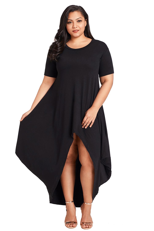fe6e6be71bd Plus size hi-lo slit jersey knit maxi evening dress high low womens ...
