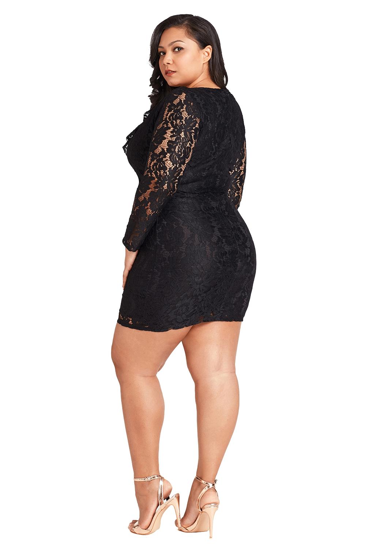 d8cf8faa2f20f Plus size lace faux wrap ruffle short womens dress long sleeve disco ...