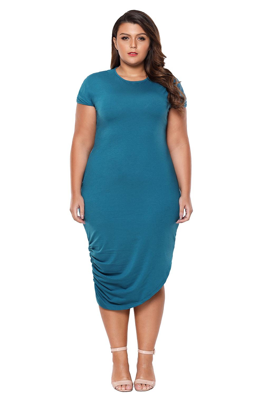 Short-sleeve-asymmetrical-hem-plus-size-women-dress-high-low-casual-cocktail