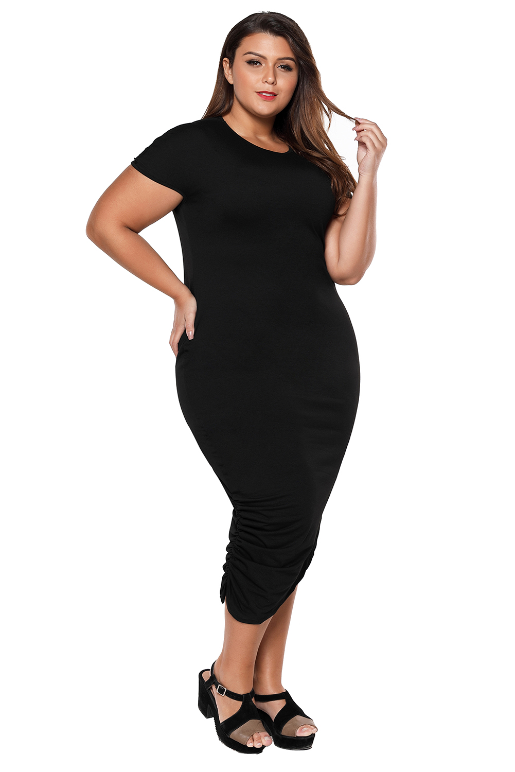 Short Sleeve Asymmetrical Hem Plus Size Women Dress High
