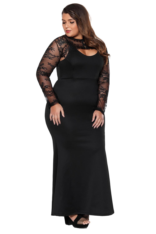 572999f9c Vestido largo sirena de bolero de encaje negro noche fiesta tallas ...