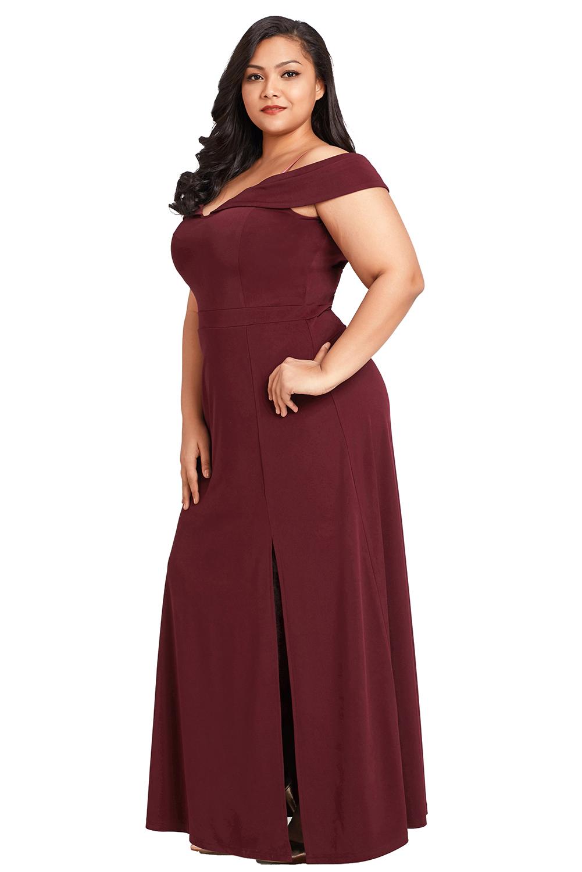 Details zu Wein lang von der schulter Übergröße kurviges kleid abendkleid  damen