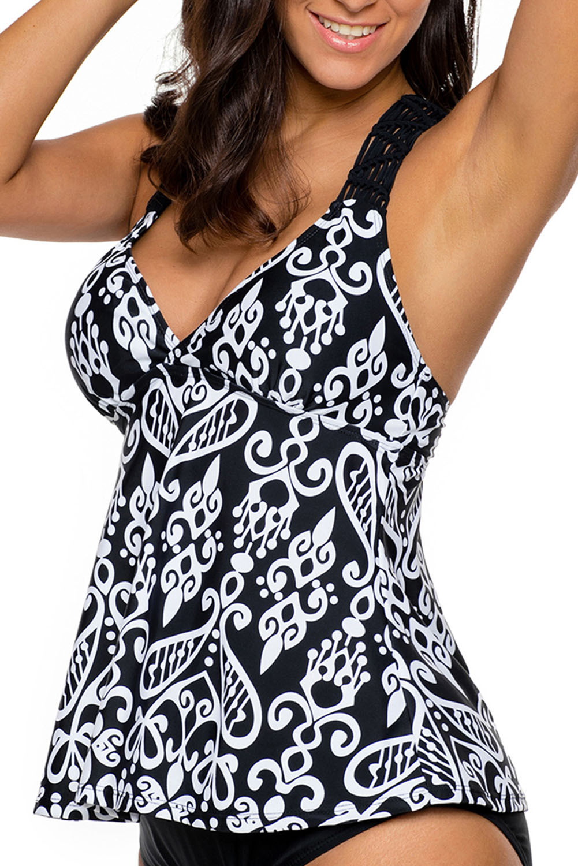 3596267f2f7d7 Ensemble de tankini à dos ouvert imprimé patchwork blanc maillot de ...