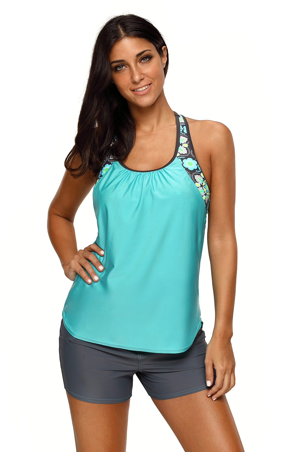 93fbb4722f Womens blouson style floral t-back tankini top summer active print ...