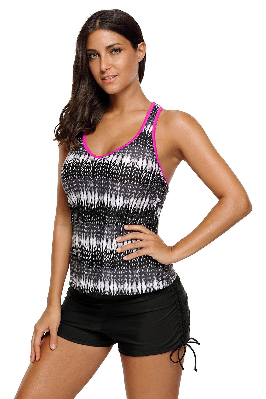 3388aca3a5 Womens print tummy control sport tankini top summer swimwear active ...