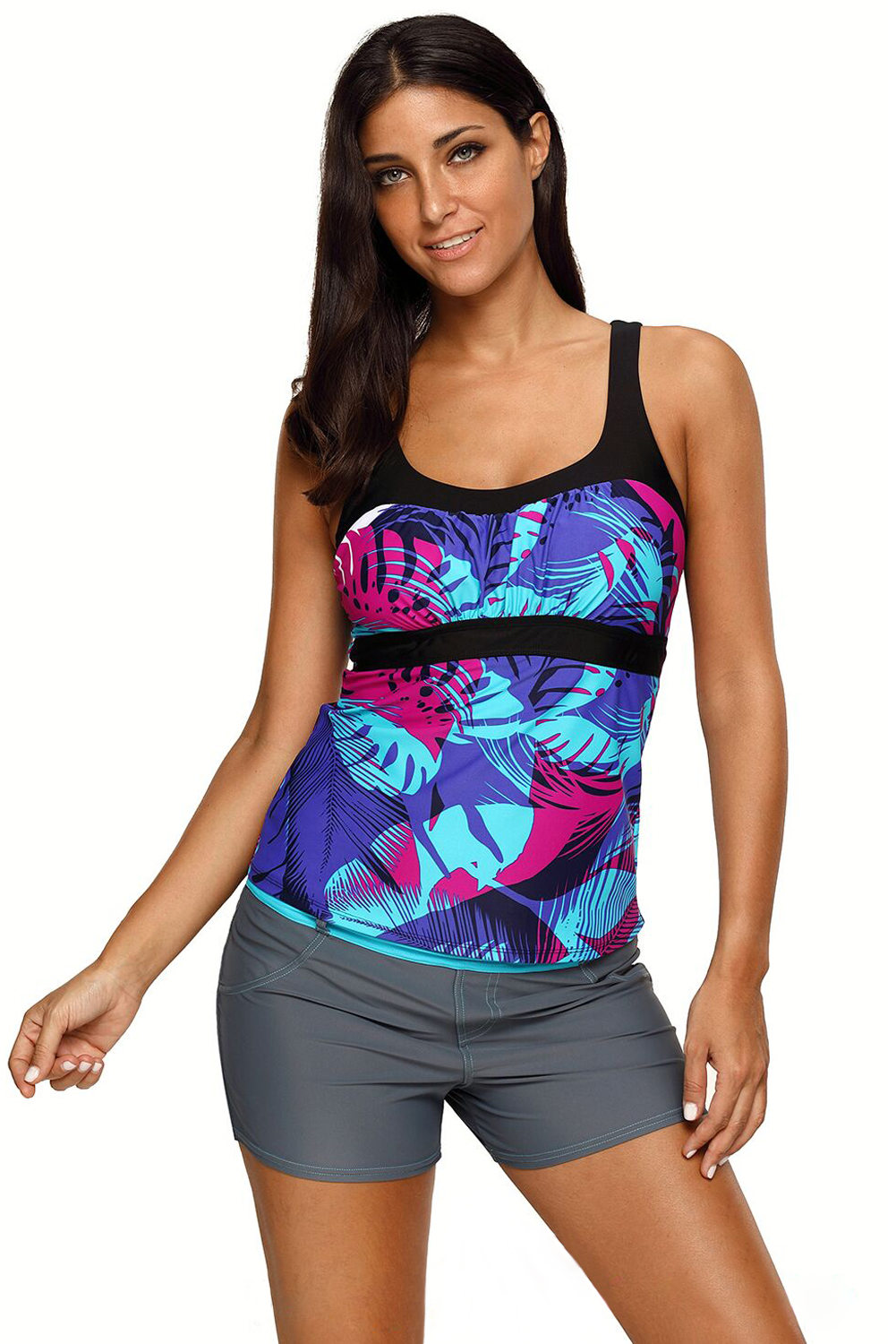 Womens abstract printed camisole tankini top summer ...