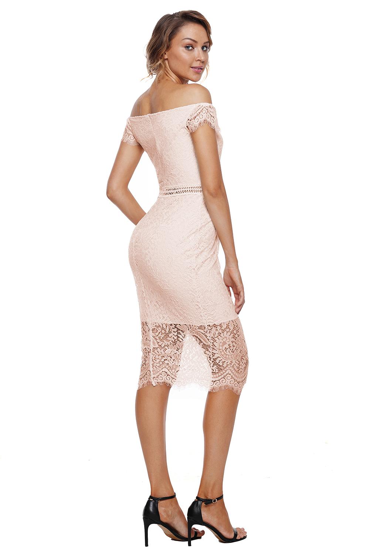 c39868b878 Vestido de tubo rodilla encaje de albaricoque bardot mujer fiesta ...