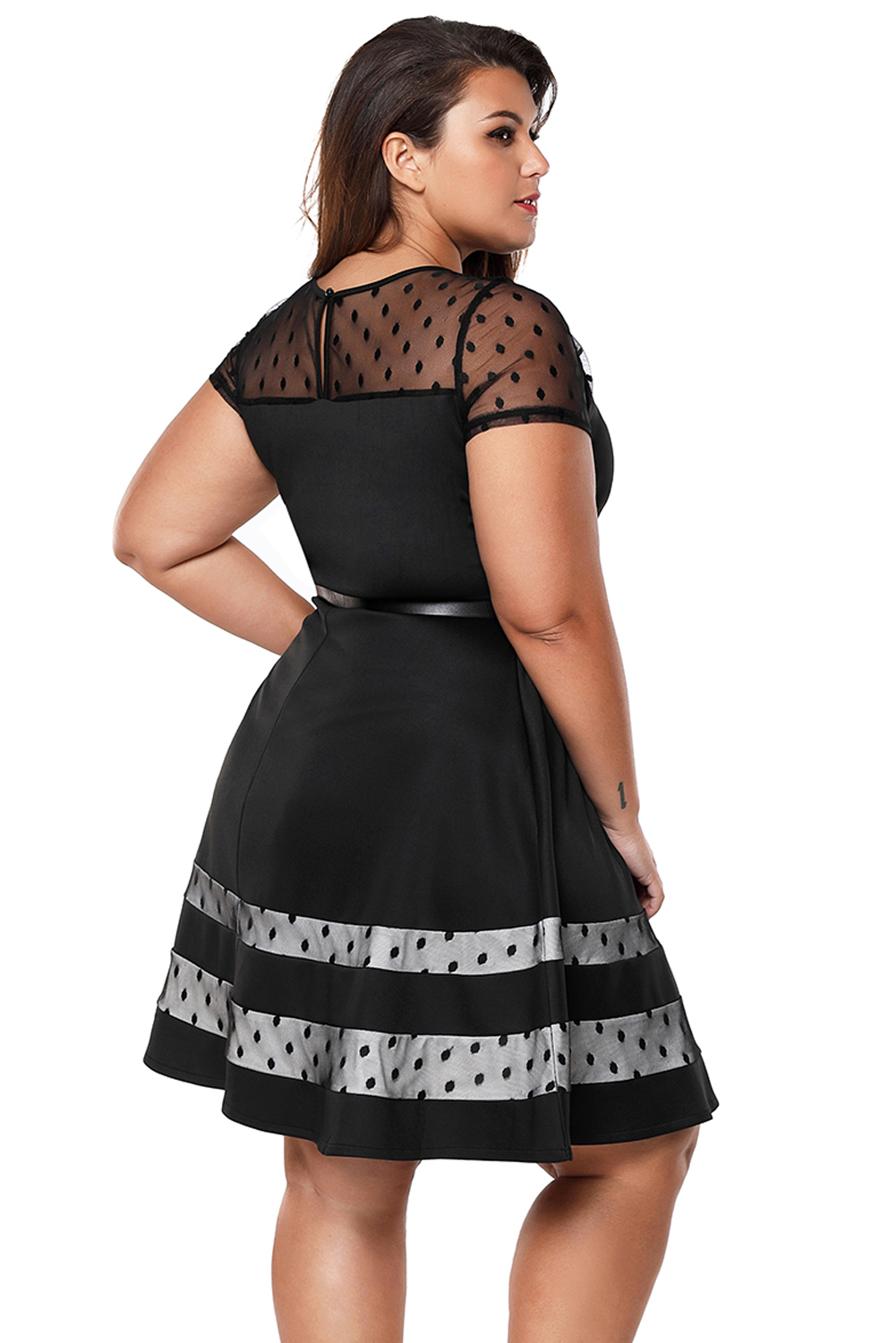 936917d9a38 Black dotted mesh insert flare plus size dress with belt women crew ...