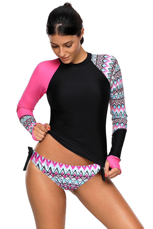 Contraste traje de ba o de tankini de manga larga con detalle p rpura mujer ebay - Banos de contraste ...