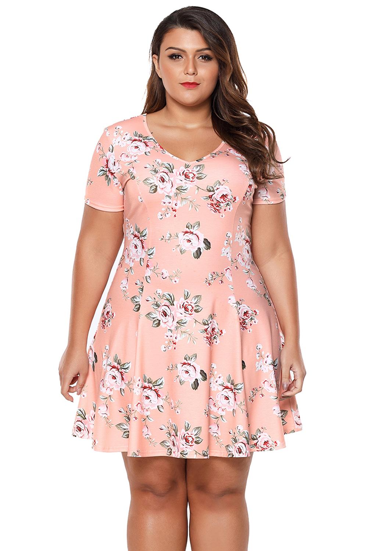 Vestido cóctel verano mini floral coral talla grande mujer | eBay