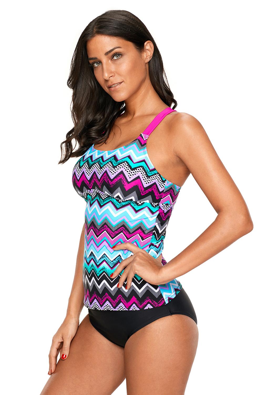 d295695484 Blue zigzag print y back tankini top summer tops womens color block ...