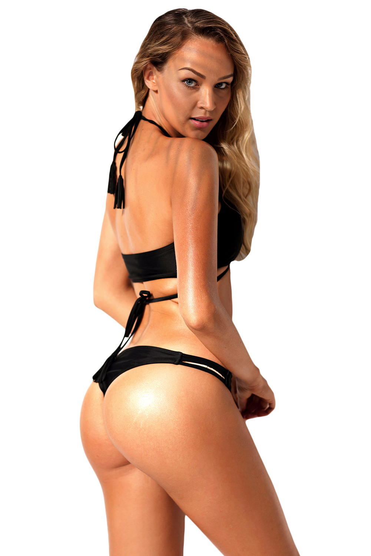 Traje-de-bano-bikini-negro-halter-entrelazado-mujer