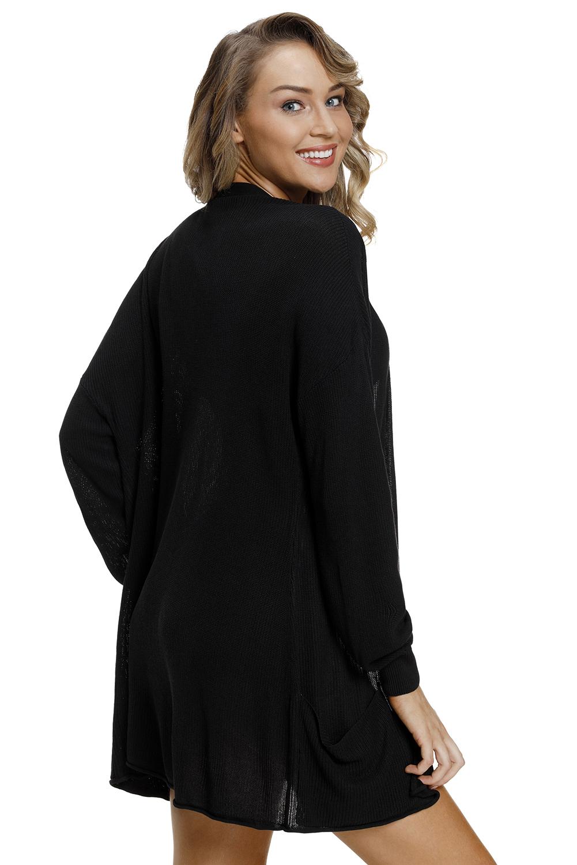 Schwarze leichte strickjacke mit taschen Strandkleid damen ...