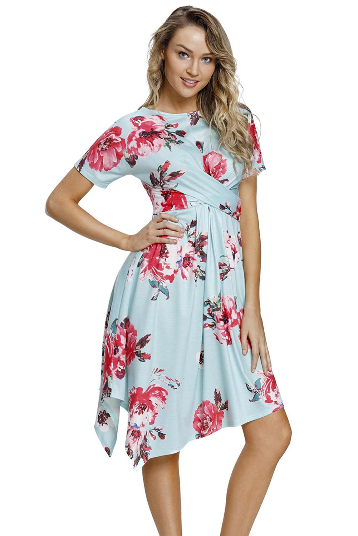 Vestido-ligero-informal-dobladillo-delantero-estampado-floral-mujer-verano
