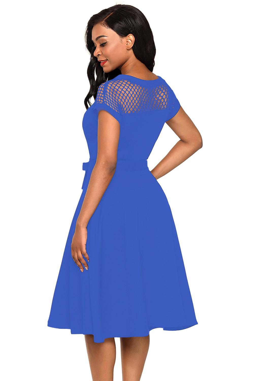 Malla-insertar-vestido-de-fiesta-cinturon-bowknot-azul-embellecido-mujer-coctel