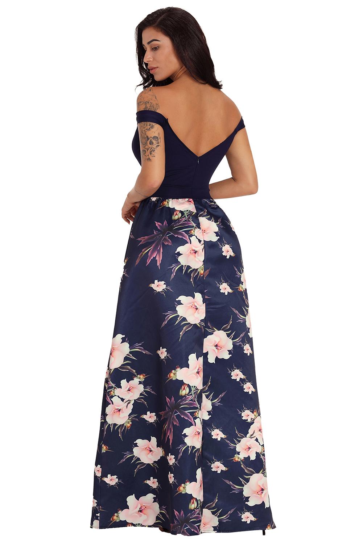 70eaf4c003 Vestido estampado floral con hombros descubiertos escote corazón ...