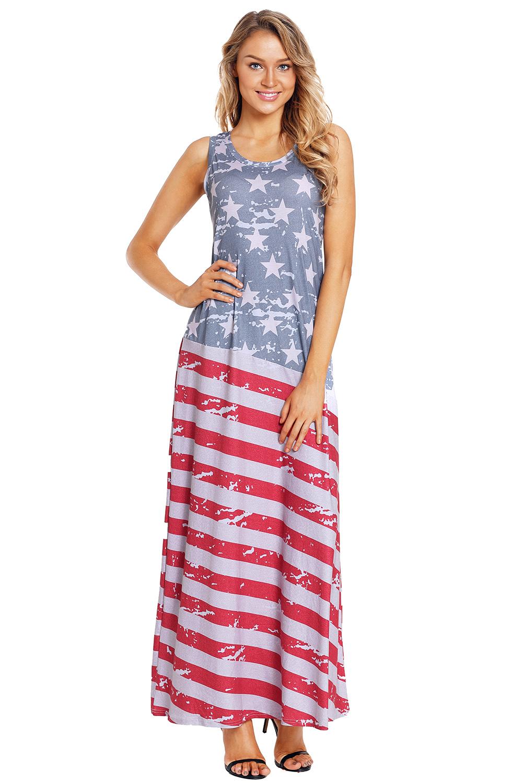 Vestido Largo Mangas Con De Bandera Estampado Sin Maxi Americana 54Aq3LcRSj