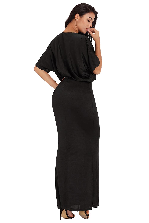 Vestido-de-fiesta-maxi-largo-sexy-con-cuello-en-v-en-color-negro-mujer-cocktail