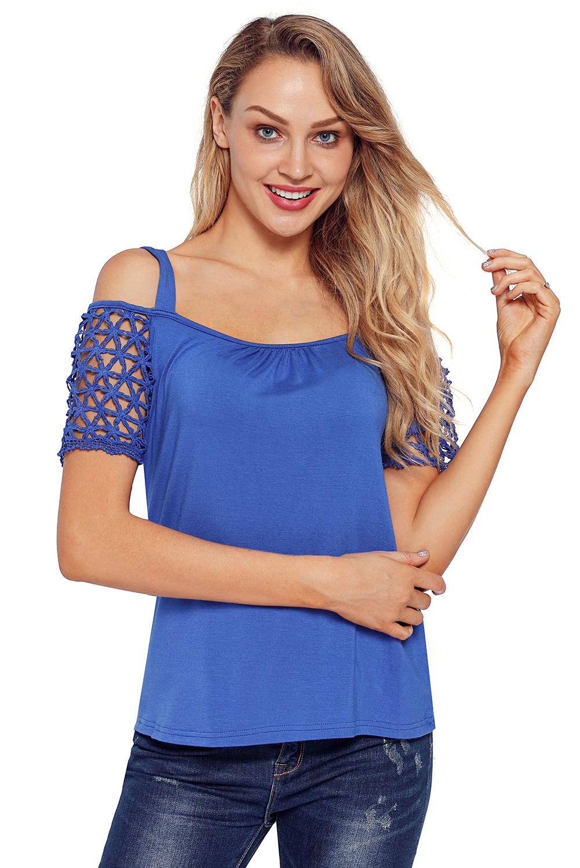 d5f169a52 Detalles de Camiseta hombros descubiertos manga corta de ganchillo floral  shirt verano mujer