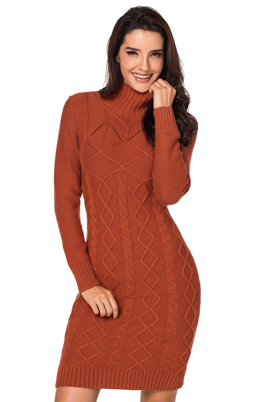 ffced4a20d5 Cable knit high neck sweater dress women winter turtleneck cute ...