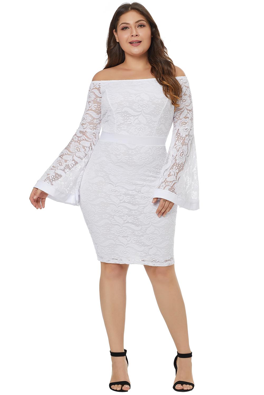 White plus size long bell sleeve lace dress women knee ...