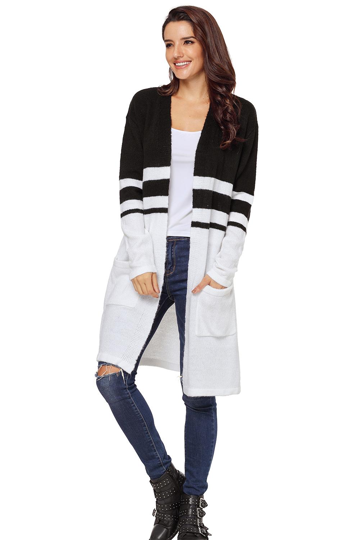Details zu Weiß schwarz kontrast volle Ärmel offene strickjacke mit taschen damen
